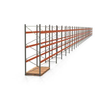Palettenregal ARTUS - Regalreihe, 31 Felder - Fachlast 3.000 kg - Feldlast 9.000 kg - 3.500 x 86.420 x 1.100 mm (HxBxT) - Schwerlastregal