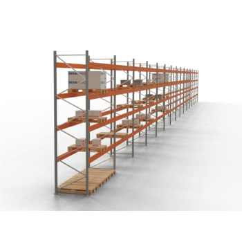 Palettenregal ARTUS - Regalreihe, 19 Felder - Fachlast 3.000 kg - Feldlast 6.000 kg - 4.500 x 53.000 x 1.100 mm (HxBxT) - Schwerlastregal