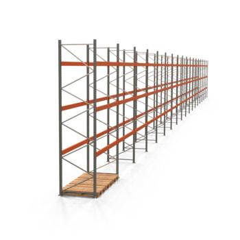 Palettenregal ARTUS - Regalreihe, 18 Felder - Fachlast 3.000 kg - Feldlast 9.000 kg - 4.500 x 50.215 x 1.100 mm (HxBxT) - Schwerlastregal