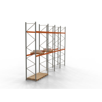 Palettenregal ARTUS - Regalreihe, 13 Felder - Fachlast 3.200 kg - Feldlast 9.600 kg - 3.000 x 47.990 x 1.100 mm (HxBxT) - Schwerlastregal