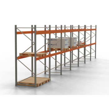 Palettenregal ARTUS - Regalreihe, 28 Felder - Fachlast 3.200 kg - Feldlast 9.600 kg - 3.500 x 103.265 x 1.100 mm (HxBxT) - Schwerlastregal