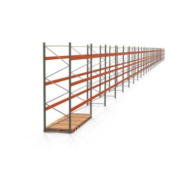 Palettenregal ARTUS - Regalreihe, 29 Felder - Fachlast 3.200 kg - Feldlast 9.600 kg - 3.500 x 106.950 x 1.100 mm (HxBxT) - Schwerlastregal