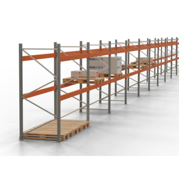 Palettenregal ARTUS - Regalreihe mit 11 Feldern - Fachlast 4.000 kg - 4.000 x 40.620 x 1.100 mm (HxBxT) - Schwerlastregal