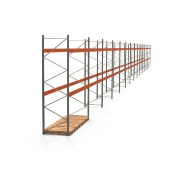Palettenregal ARTUS - Regalreihe mit 15 Feldern - Fachlast 4.000 kg - 4.000 x 55.360 x 1.100 mm (HxBxT) - Schwerlastregal
