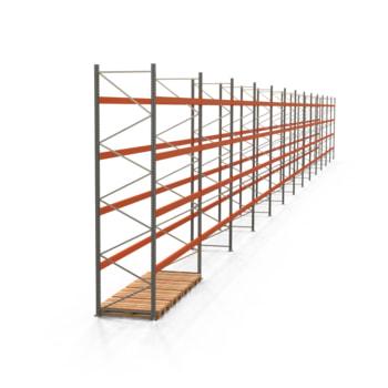 Palettenregal ARTUS - Regalreihe, 13 Felder - Fachlast 2.800 kg - Feldlast 11.200 kg - 4.500 x 47.990 x 1.100 mm (HxBxT) - Schwerlastregal