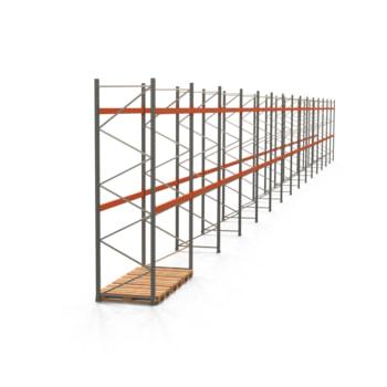 Palettenregal ARTUS - Regalreihe mit 15 Feldern - Fachlast 2.000 kg - 4.000 x 41.860 x 1.100 mm (HxBxT) - Schwerlastregal