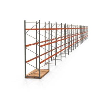Palettenregal ARTUS - Regalreihe, 21 Felder - Fachlast 2.000 kg - Feldlast 6.000 kg - 4.000 x 58.570 x 1.100 mm (HxBxT) - Schwerlastregal