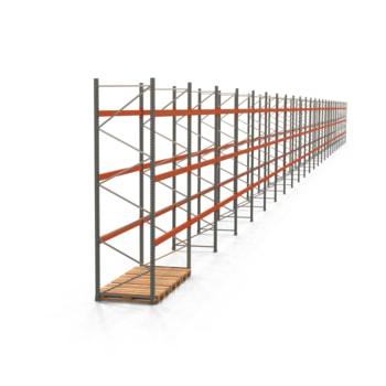 Palettenregal ARTUS - Regalreihe, 25 Felder - Fachlast 2.000 kg - Feldlast 6.000 kg - 4.000 x 69.710 x 1.100 mm (HxBxT) - Schwerlastregal