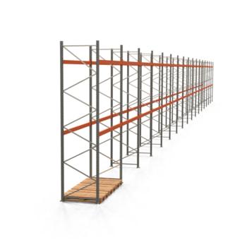 Palettenregal ARTUS - Regalreihe mit 17 Feldern - Fachlast 2.000 kg - 4.500 x 47.430 x 1.100 mm (HxBxT) - Schwerlastregal