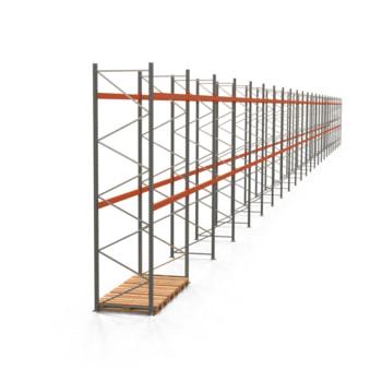 Palettenregal ARTUS - Regalreihe mit 24 Feldern - Fachlast 2.000 kg - 4.500 x 66.925 x 1.100 mm (HxBxT) - Schwerlastregal