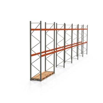 Palettenregal ARTUS - Regalreihe mit 6 Feldern - Fachlast 3.000 kg - Feldlast 6.000 kg - 4.000 x 16.795 x 800 mm (HxBxT) - Schwerlastregal