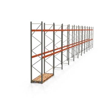 Palettenregal ARTUS - Regalreihe mit 11 Feldern - Fachlast 3.000 kg - Feldlast 6.000 kg - 4.000 x 30.720 x 800 mm (HxBxT) - Schwerlastregal
