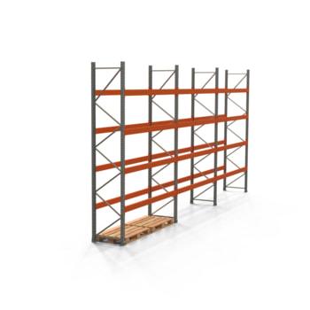 Palettenregal ARTUS - Regalreihe mit 3 Feldern - Fachlast 2.700 kg - Feldlast 10.800 kg - 4.000 x 8.440 x 800 mm (HxBxT) - Schwerlastregal
