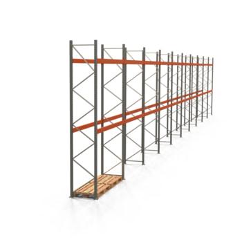 Palettenregal ARTUS - Regalreihe mit 10 Feldern - Fachlast 3.000 kg - Feldlast 6.000 kg - 4.500 x 27.935 x 800 mm (HxBxT) - Schwerlastregal