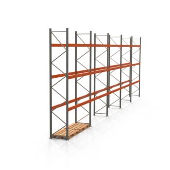 Palettenregal ARTUS - Regalreihe mit 5 Feldern - Fachlast 3.000 kg - Feldlast 9.000 kg - 4.500 x 14.010 x 800 mm (HxBxT) - Schwerlastregal