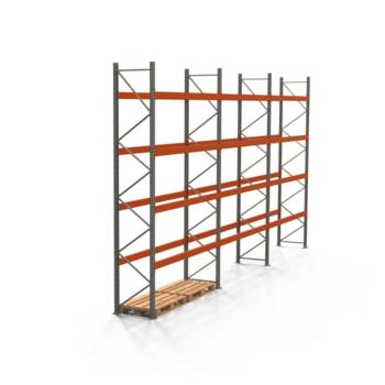 Palettenregal ARTUS - Regalreihe mit 3 Feldern - Fachlast 2.700 kg - Feldlast 10.800 kg - 4.500 x 8.440 x 800 mm (HxBxT) - Schwerlastregal
