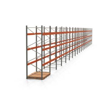 Palettenregal ARTUS - Regalreihe, 19 Felder - Fachlast 3.000 kg - Feldlast 9.000 kg - 3.500 x 37.800 x 1.100 mm (HxBxT) - Schwerlastregal