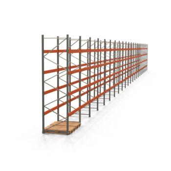 Palettenregal ARTUS - Regalreihe, 22 Felder - Fachlast 3.000 kg - Feldlast 12.000 kg - 4.000 x 43.755 x 1.100 mm (HxBxT) - Schwerlastregal