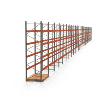 Palettenregal ARTUS - Regalreihe, 30 Felder - Fachlast 3.000 kg - Feldlast 12.000 kg - 4.000 x 59.635 x 1.100 mm (HxBxT) - Schwerlastregal
