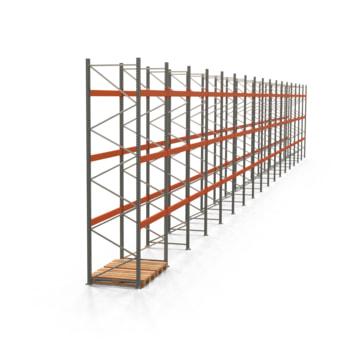 Palettenregal ARTUS - Regalreihe, 17 Felder - Fachlast 3.000 kg - Feldlast 9.000 kg - 4.500 x 33.830 x 1.100 mm (HxBxT) - Schwerlastregal