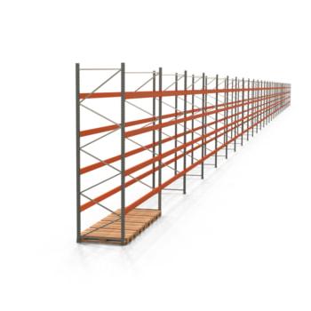 Palettenregal ARTUS - Regalreihe, 31 Felder - Fachlast 2.800 kg - Feldlast 11.200 kg - 4.000 x 114.320 x 1.100 mm (HxBxT) - Schwerlastregal