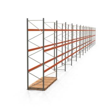 Palettenregal ARTUS - Regalreihe, 14 Felder - Fachlast 3.200 kg - Feldlast 9.600 kg - 4.500 x 51.675 x 1.100 mm (HxBxT) - Schwerlastregal