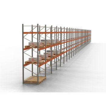 Palettenregal ARTUS - Regalreihe, 26 Felder - Fachlast 3.200 kg - Feldlast 9.600 kg - 4.500 x 95.895 x 1.100 mm (HxBxT) - Schwerlastregal