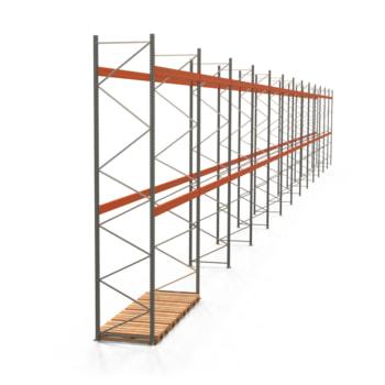 Palettenregal ARTUS - Regalreihe, 13 Felder - Fachlast 3.900 kg - Feldlast 7.800 kg - 5.500 x 47.990 x 1.100 mm (HxBxT) - Schwerlastregal