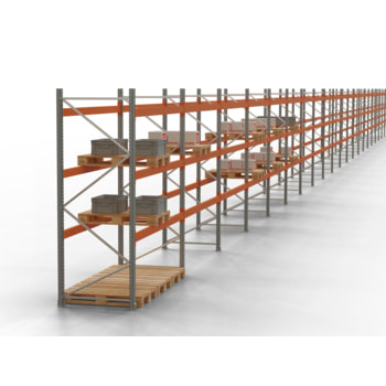 Palettenregal ARTUS - Regalreihe, 15 Felder - Fachlast 3.900 kg - Feldlast 7.800 kg - 5.500 x 55.360 x 1.100 mm (HxBxT) - Schwerlastregal