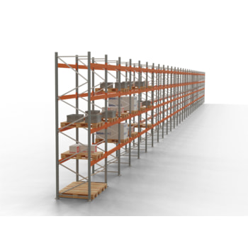Palettenregal ARTUS - Regalreihe, 29 Felder - Fachlast 2.000 kg - Feldlast 6.000 kg - 4.500 x 80.850 x 1.100 mm (HxBxT) - Schwerlastregal