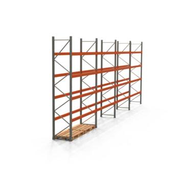 Palettenregal ARTUS - Regalreihe mit 4 Feldern - Fachlast 2.000 kg - Feldlast 8.000 kg - 4.000 x 11.225 x 800 mm (HxBxT) - Schwerlastregal