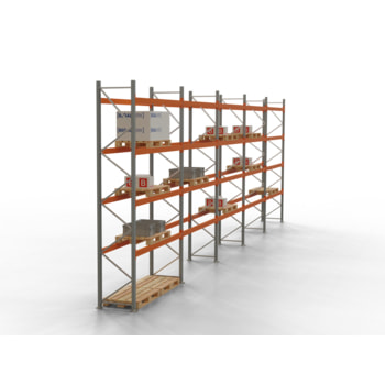 Palettenregal ARTUS - Regalreihe mit 5 Feldern - Fachlast 2.000 kg - Feldlast 8.000 kg - 4.500 x 14.010 x 800 mm (HxBxT) - Schwerlastregal