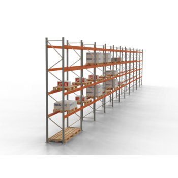 Palettenregal ARTUS - Regalreihe mit 11 Feldern - Fachlast 2.000 kg - Feldlast 8.000 kg - 4.500 x 30.720 x 800 mm (HxBxT) - Schwerlastregal