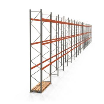 Palettenregal ARTUS - Regalreihe mit 21 Feldern - Fachlast 2.000 kg - Feldlast 6.000 kg - 5.500 x 58.570 x 800 mm (HxBxT) - Schwerlastregal